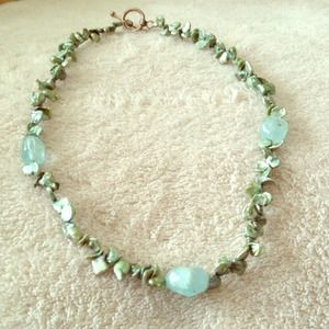 Mint green stone necklace