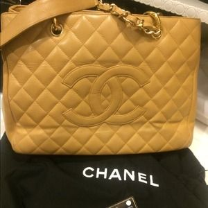 Authentic Chanel shopper tote in beige caviar