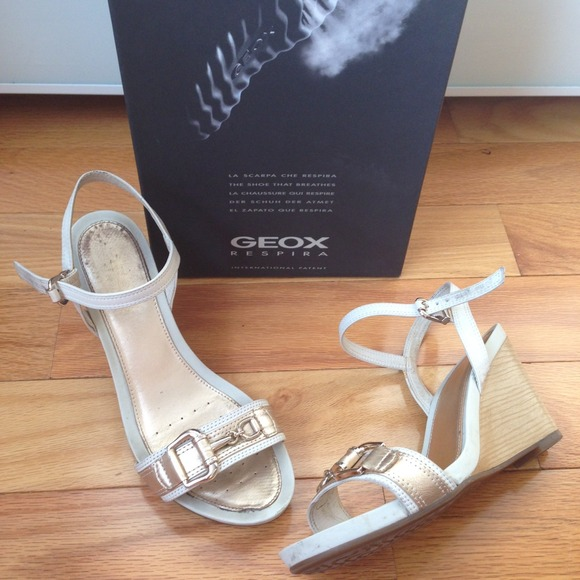White & Gold Geox Wooden Wedge Sandals w Buckle