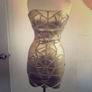 Aidan mattox size 6 gold dress