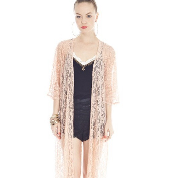 67% off Outerwear - Umgee Blush Lace Kimono Cardigan as Large from ...
