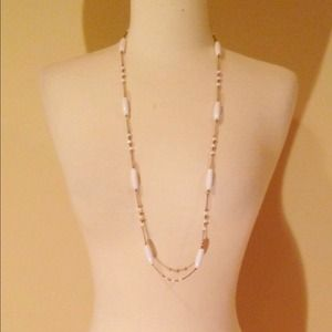 Gold & White Beaded Chain Necklace