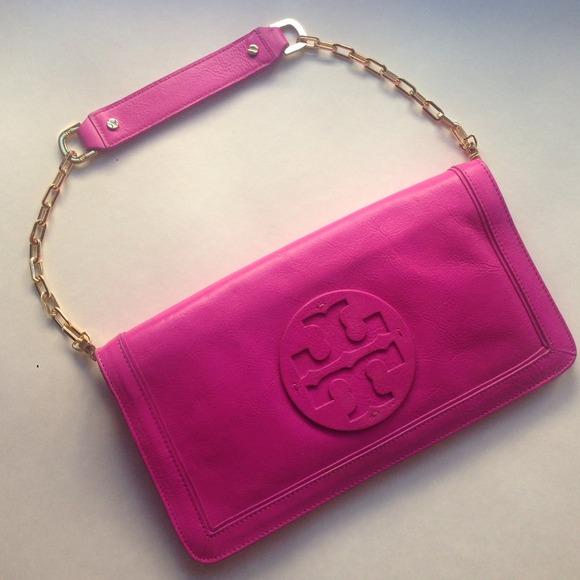 618a03605a3 Tory Burch Bags | Soldgorgeous Fuschia Hot Pink Clutch | Poshmark