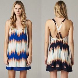 The CAMILLE tie dye Criss cross back dress-BLUE