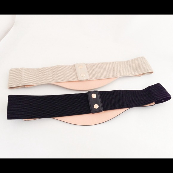 new plus size wide elastic beige gold chain belt os from
