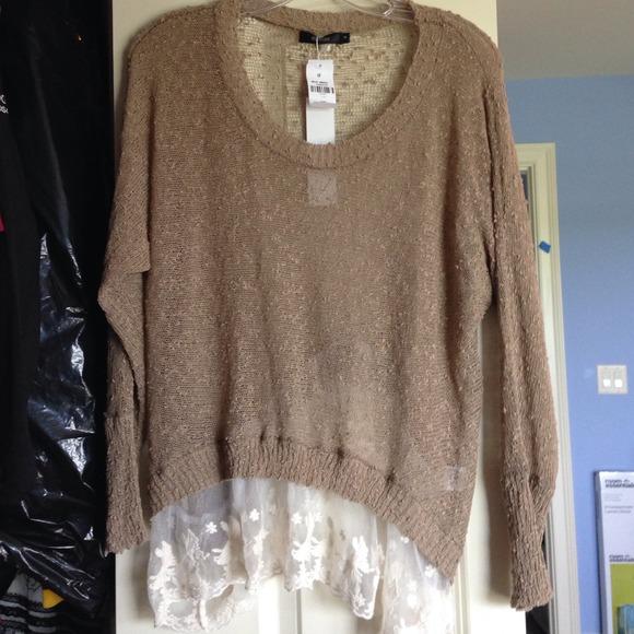 62% off LF Tops - LF millau latte lace bottom trim sweater (small ...