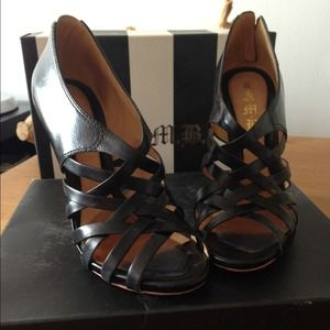 LAMB Black Leather Gladiator High Heel Sandals