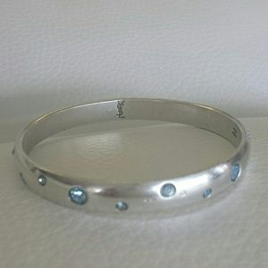 51578ba3bcc Yves Saint Laurent Jewelry - Yves St Laurent Silver Bangle with Blue  Crystals