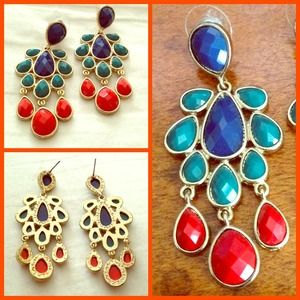 Royal blue, teal and red statement earrings