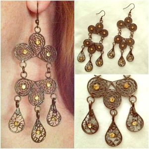 Brown and gold chandelier earrings