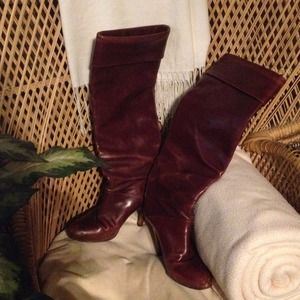 Italian leather burgundy knee Boots