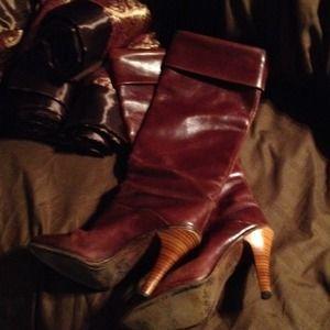 Tanino Crisci Shoes - Italian leather burgundy knee Boots