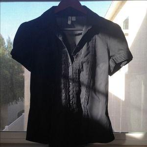 Black short sleeve button up shirt