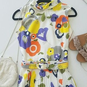 60s Flower Child Pleated Dress