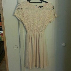 Peach floral silk dress