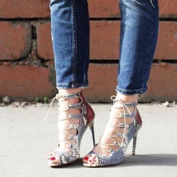 Zara - Zara Snakeskin Lace-up Heels 38/7.5 from Mary's closet on ...