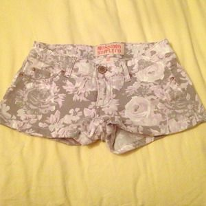 Gray and Purple Floral Jean Shorts Size 1