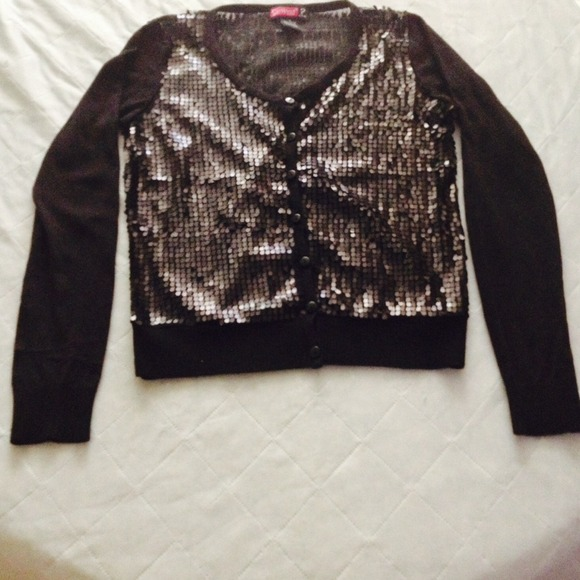 82% off Sweaters - Dressy Black Sequin Cardigan Sweater - S from ...