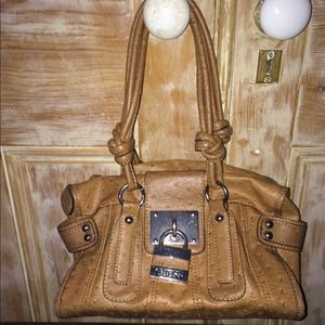 282104923a3 Guess Bags   One Day Sale Ostrich Cognac Satchel With Padlock   Poshmark