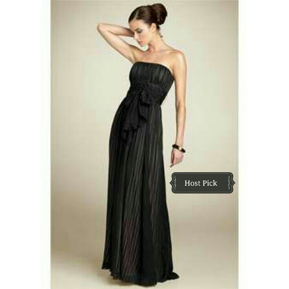 Bcbgmaxazria Dresses Bcbg Long Black Strapless Evening Gown W Sash