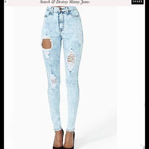 Nasty Gal skinnies, vibrant, size 1