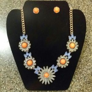 Gorgeous!!! Acrylic Statement Flower Necklace Set