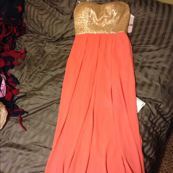 54% off Gianni Bini Dresses & Skirts - Coral pink & Gold maxi ...