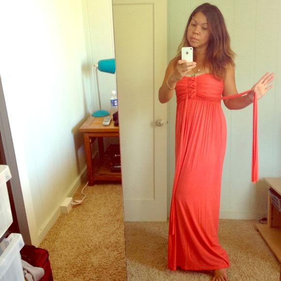 Dresses Strapless Coral Maxi Dress With Empire Waist Poshmark