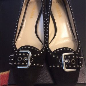 Prada suede studded shoes