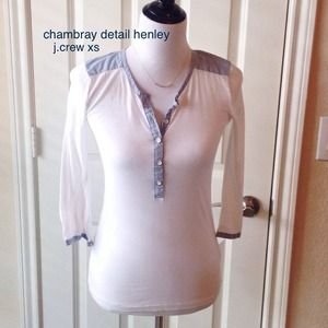 J. Crew Tops - ultra thin, chambray detailed henley. Jcrew sz XS