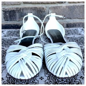 Shoes - White Strappy Sandals Flats