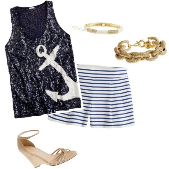 J. Crew Tops - J. Crew Sequin Anchor Tank