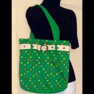 Handbags - Green bag with stars
