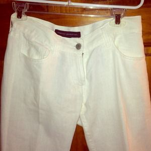 French Connection white linen pants size 0