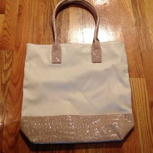 Tote with Faux Croc Leather