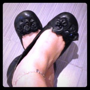 Black Flats floral beaded Shoes size 6