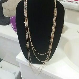 Long gold cross necklace set