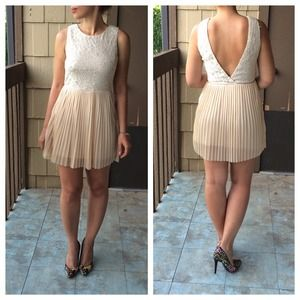 Dresses & Skirts - Nude Lace Open Back Dress
