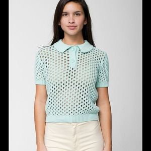 American Apparel Tops - American Apparel Mint Open Knit Tennis Shirt