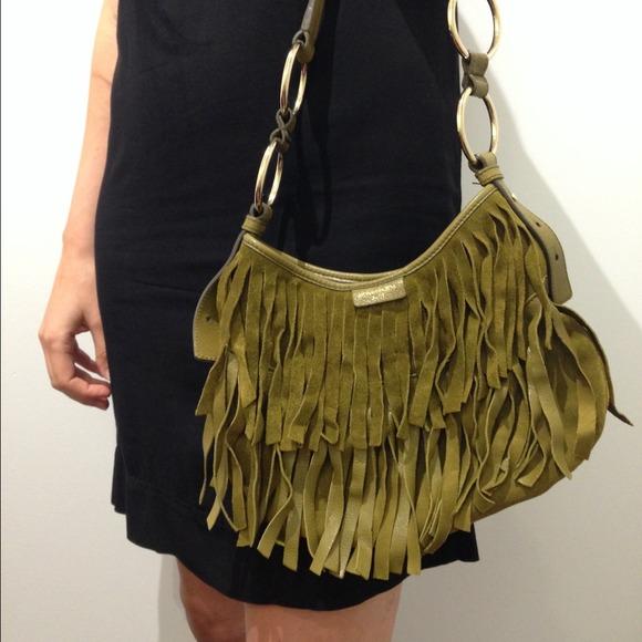 770c1d4b98e ... Yves Saint Laurent olive fringe suede purse. M 53af9e033a3efc4bee150c0b