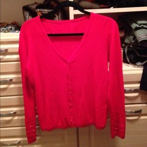 Sweaters - Red sequined cardigan