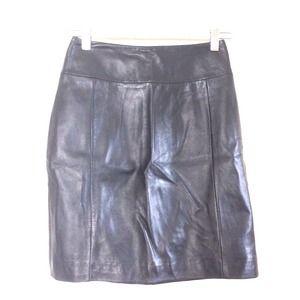 H&M black genuine leather mini skirt