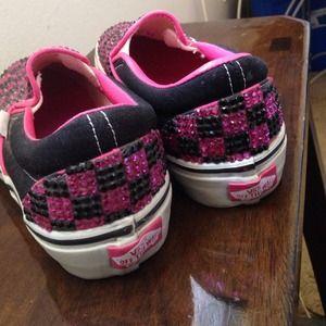 ... info for 09efc 33e39 Vans Shoes - VANS SHOES SZ 5 BLINGED CHECKERED  SLIDES ... 59537451ac