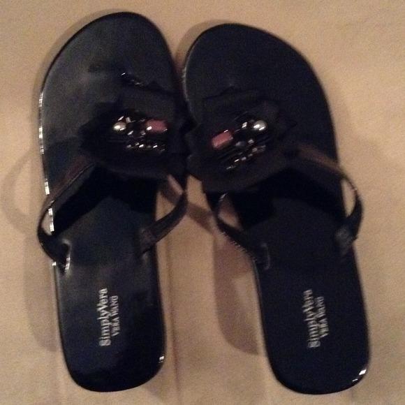 Vera Wang House Shoes Black