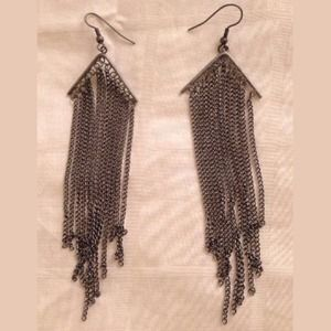 Jewelry - Gray Metallic Chandelier Chain Dangle Earrings