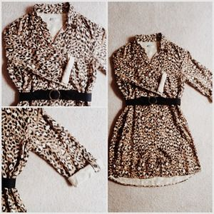 Forever21 leopard shirt dress/belt combo