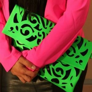Neon green clutch