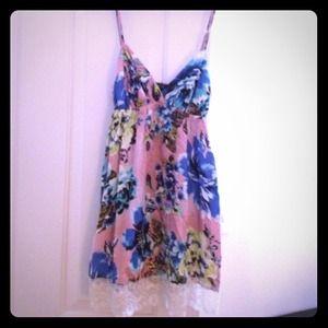 Pink, floral dress