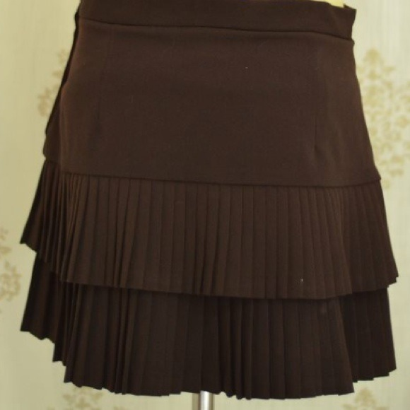 83% off BCBGMaxAzria Dresses & Skirts - Brown Accordion Pleated ...