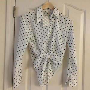 White polka dot button up shirt/blouse